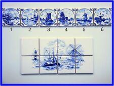 """6 Fliesen nach Art: """" delfter delft """"  (großes Bild Windmühle = extra Auktion)"""