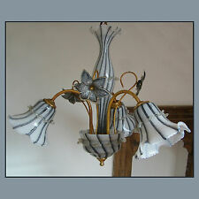 VINTAGE 60 ITALIAN MURANO FLOWER CHANDELIER VENINI style ART GLASS CEILING LIGHT