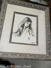 Original oil painting face of a young woman, signed David h? in canvas