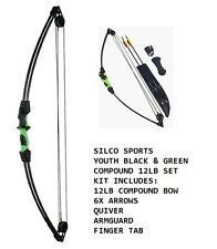 Youth/Child Black & Green Compound Archery Bow 12Lbs Kit Set 6 X Arrows & Access