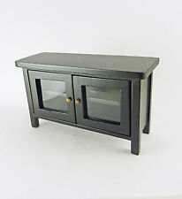 Dollhouse Miniature Black Hall Table or TV Stand, CLA10918
