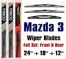 2014-2016 Mazda 3 Wipers 3pk Standard Wipers Front + Rear Wiper 30240/30180/12A