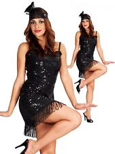 Fancy Dress 1920 1920S TWENTIES SEQUIN CHARLESTON FLAPPER LADY  DRESS Fits 10-14