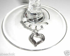 20 x Wine Glass Charms White Pearl beads Tibetan Silver Hearts Weddings Parties