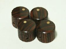 Set of 4 Bolivian Rosewood Knurled Guitar Knobs with Ash Dot (3/4 dia x 11/16h)