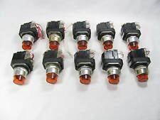 Lot of 10, Allen Bradley, Switches, 800T-PT16, w/ Contact Blocks, 800T-XA, Amber