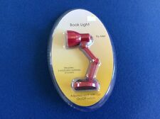 Mini book light with adjustable neck clip, portable, in red, yellow, or blue, 4""
