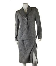 Valentino Grey Cashmere Skirt Suit, Size 10