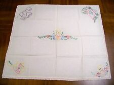 "Hand Embroidered Table Cover Linens Unusual Size 34X30"" Teapot Coffee Pot Wine"