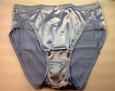 Women Panties,Briefs Bikinis Selina Size XXL Blue Satin Silky W/Net&Decoration