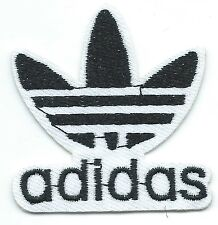 Black on White Adidas Leaf Embroidered Iron-on Patches Art Good Luck Magic