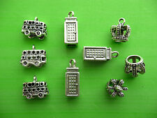 Mix Pack 9 3D Bus Crown Telephone Box London UK Tibetan Silver Charms Pendants