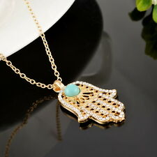 1PC Turquoise Hamsa Fatima Hand Pendant Necklace Charms Good Luck Gold Plated