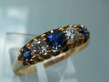 SUPERB ANTIQUE EDWARDIAN SAPPHIRE AND DIAMOND RING 18CT