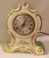 Mantle Clock Oxford Metal Spinning Co Sessions Movement Electric Porcelain Vtg