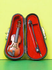 2.75in Dollhouse Miniature Musical Instrument Violin with Bow and  BLACK CASE
