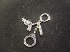 RARE SOLID SILVER HAND CUFFS-GUN & BULLET CHARM / PENDANT-SET WITH SAPPHIRES!!