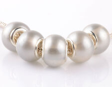 HOT 5pcs silver pearl gray spacer beads fit Charm European Bracelet DIY AB918