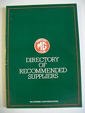 MG Owners' Club paperback booklet. Directory of Recommended Suppliers. Undated.