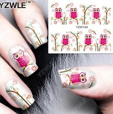 Cute Owl Cartoon Nail Art Water Transfer Decal Decoration Wraps Stickers YZW144