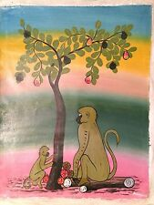 Adorable Baby MONKEY baboons TINGATINGA CANVAS unstretched Colorful OIL Painting