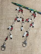 Knit Row Counter - Red Speckle 1-10 Chain Style Counter- numbered stitch marker