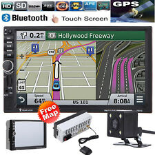 "GPS HD 7"" 2 Din Car MP3 MP5 Player Radio Touch Bluetooth USB/TF/FM/TV Camera Map"