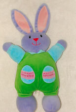 Amscan Easter Collage Bunny Rabbit Egg Pockets Velour Purple Green Stuffed Toy
