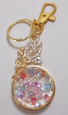 Gold fairy with rhinestones bag charm 98mm tot.length