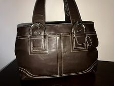 COACH DARK BROWN LEATHER LARGE SATCHEL SOHO CARYALL BAG PURSE 10219