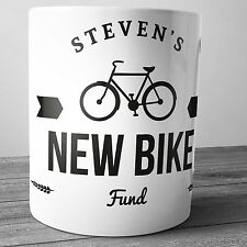 NEW BIKE FUND PERSONALISED CERAMIC MONEY BOX PIGGY BANK PENNY JAR PUSH BICYCLE