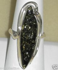 Sterling silver ring premium Baltic Green Amber, 6.40 gram, size 8.5
