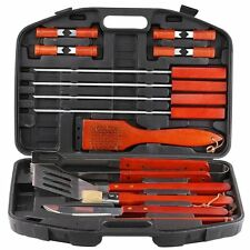 BBQ Grill Tool Set 18 Piece Wood Barbecue Accessories Storage Case Grilling New