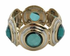 Zest Golden Elasticated Circular Disk Bracelet with Large Faceted Stones Green