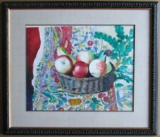 Original Contemporary Table-Top Still Life Watercolor Painting Signed Framed