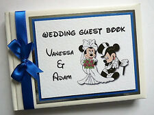 PERSONALISED DISNEY MICKEY & MINNIE WEDDING GUEST BOOK - ANY COLOUR