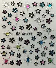 Nail Art 3D Decal Stickers Beautiful Flowers with Rhinestones & Cross XF236