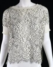 VALENTINO White & Black Floral Cut-Out Lace Short Sleeve Top M