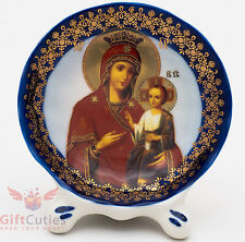 Porcelain gzhel decal plaque Icon Panagia Portaitisa Иверская ик Божией Матери