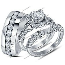 1.55 CT 14K White Gold Plated Silver Rd VVS1 Diamond His And Her Trio Ring Set