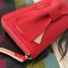 NWT Kate Spade Red Pink Leather Eden Lane Bow Lacey Zip Around Wallet PWRU4854