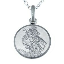 """STERLING SILVER ST SAINT CHRISTOPHER PENDANT CHAIN NECKLACE WITH 18"""" CHAIN & BOX"""