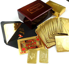 GENUINE 24k GOLD Deck Playing Cards Wooden Mahogany Box Case Replica Bullion Bar