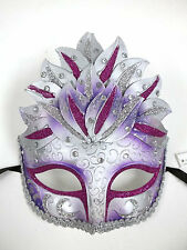 Purple Silver Venetian Mask Masquerade Mardi Gras Party Leaf Cascade Crystal