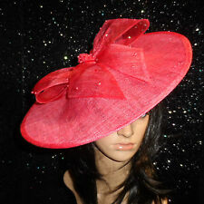 coral pink DISC FASCINATOR HAT ASCOT WEDDING OCCASION MOTHER OF THE BRIDE