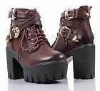 Brown Military Lace Up Back Zip Open High Heel Women Ankle Boots Size 8.5