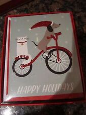 Happy Holidays Dachshund Christmas Cards - Brand New in Box Dog Riding Bike Cat