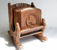 Hand Carved Rocking Chair Design Coaster Set - 6 Wooden Coasters in Holder