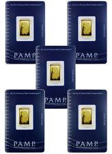 Lot of 5 - PAMP Suisse 2.5 gram .9999 Gold Bars - Sealed w/Assay Cert. SKU30874
