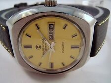 VINTAGE FAVRE LEUBA DUOMATIC SWISS MADE YELLOW DIAL MEN'S WRIST WATCH OLD USED